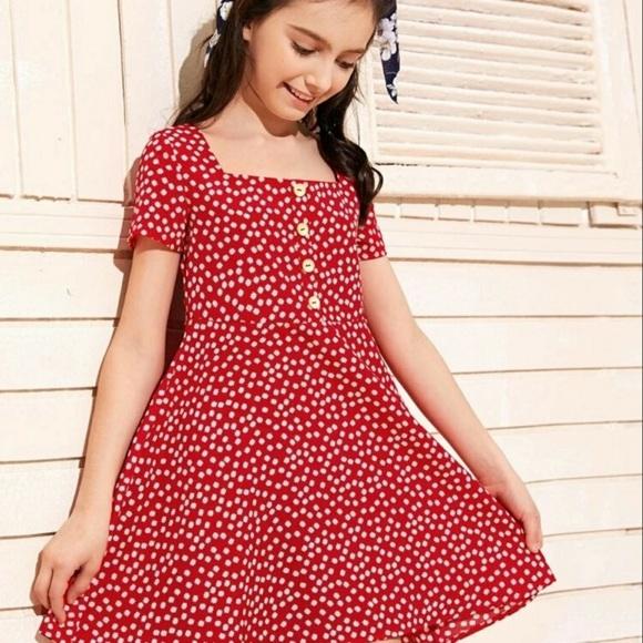 SHEIN Boho Square Neck Ditsy Floral Dress